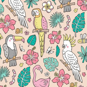 Summer Tropical Jungle Birds Toucan Flamingo and Hibiscus Floral Flowers Leaves Paradise