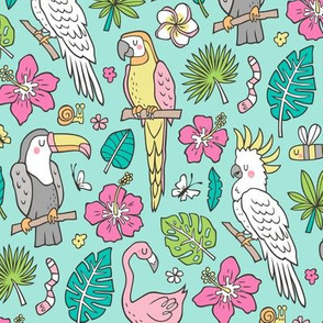 Summer Tropical Jungle Birds Toucan Flamingo and Pink Hibiscus Floral Flowers Leaves Paradise on Soft Mint