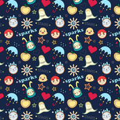 Crazy doodle faces cartoon funny seamless pattern