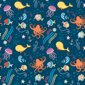 marine world  pattern with fish, octopus, jellyfish,  starfish, anchor and seaweed
