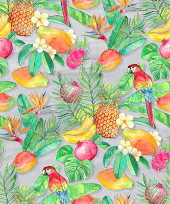 Tropical Paradise Fruit and Parrot Pattern