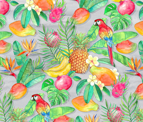 Tropical Paradise Fruit and Parrot Pattern fabric by micklyn on Spoonflower - custom fabric