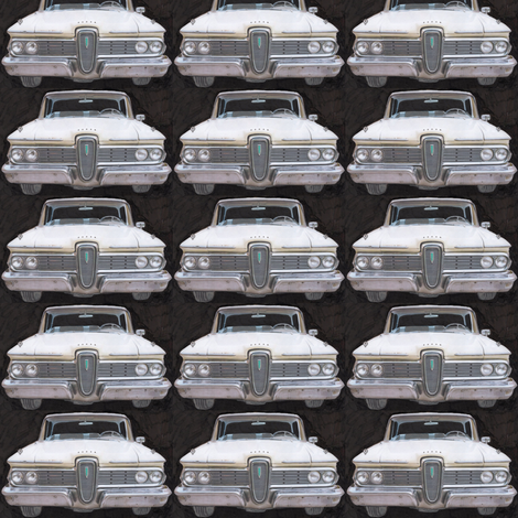 Nifty Fifties White 1959 Edsel on black background fabric by edsel2084 on Spoonflower - custom fabric