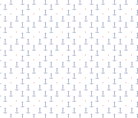 Watercolor anchors with red dots fabric by katerinaizotova on Spoonflower - custom fabric