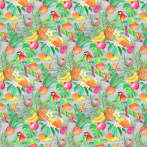 Tropical Paradise Fruit and Parrot Pattern small
