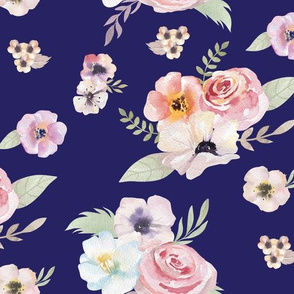 Watercolor Floral I - Navy Blue