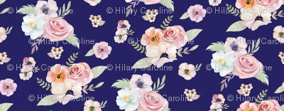 Watercolor Floral I - Navy Blue - Micro Print