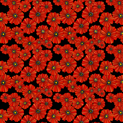 Mini poppies doll scale poppy floral fabric by beesocks on Spoonflower - custom fabric