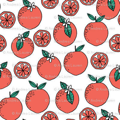 oranges fabric // citrus summer fruit design orange florida oranges fabric - white