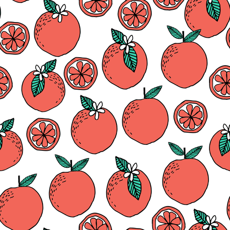 oranges fabric // citrus summer fruit design orange florida oranges fabric - white fabric by andrea_lauren on Spoonflower - custom fabric