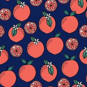 oranges fabric // citrus summer fruit design orange florida oranges fabric - navy