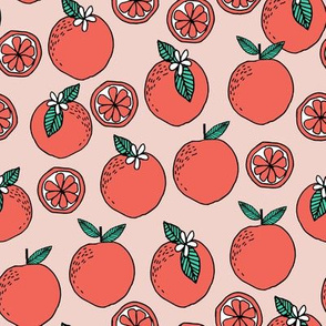 oranges fabric // citrus summer fruit design orange florida oranges fabric - blush