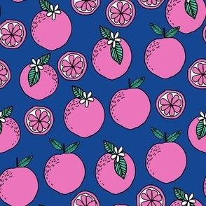 oranges fabric // citrus summer fruit design orange florida oranges fabric - blue and pink