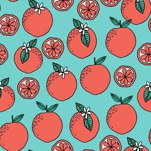 oranges fabric // citrus summer fruit design orange florida oranges fabric - turquoise