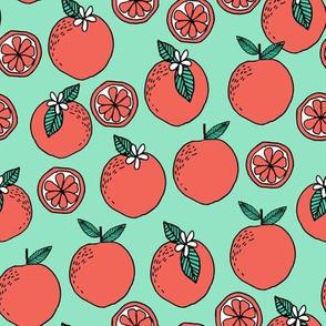 oranges fabric // citrus summer fruit design orange florida oranges fabric - mint