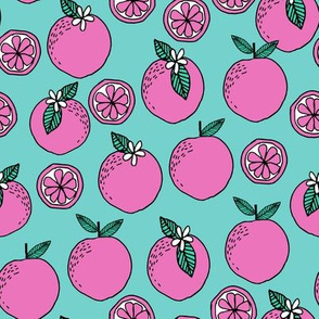 oranges fabric // citrus summer fruit design orange florida oranges fabric - pink and blue