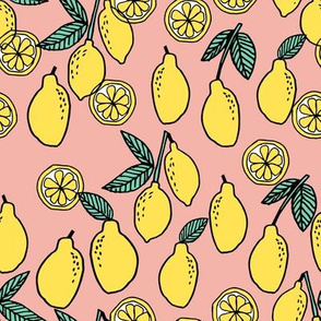lemons fabric // citrus lemon fruit fabric fruits lemons fabric - blush