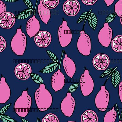 lemons fabric // citrus lemon fruit fabric fruits lemons fabric - navy and pink