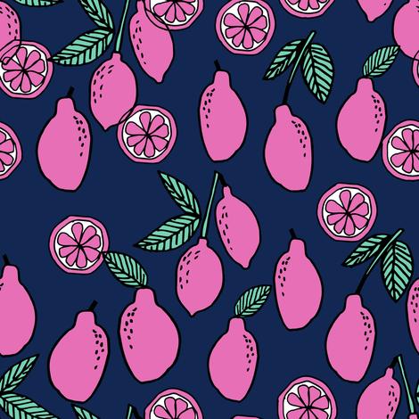 lemons fabric // citrus lemon fruit fabric fruits lemons fabric - navy and pink fabric by andrea_lauren on Spoonflower - custom fabric