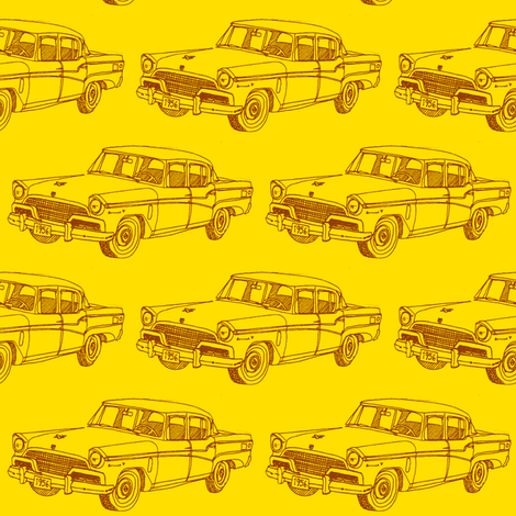 1956 Studebaker President on  bright yellow fabric by edsel2084 on Spoonflower - custom fabric