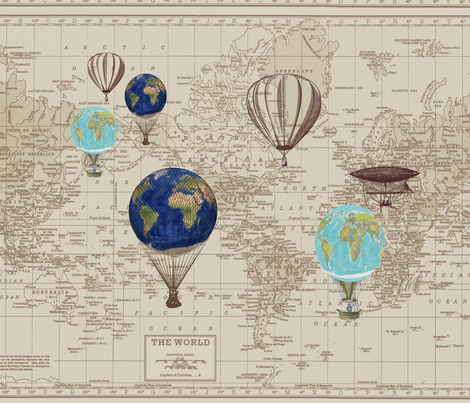 Brown Beige Map with Hot Air Globes fabric by aftermyart on Spoonflower - custom fabric