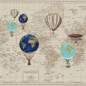 Brown Beige Map with Hot Air Globes