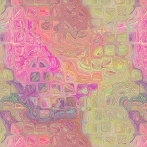 MELTED MOSAIC SQUARES SWEET SPRING SUNRISE MARBLED IN PINK AND GREEN