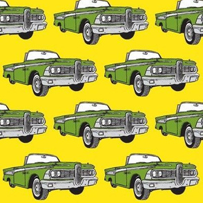 green 1959 Edsel Corsair convertible on yellow