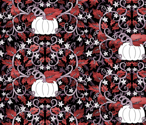 White Pumpkins  and Vines fabric by pond_ripple on Spoonflower - custom fabric