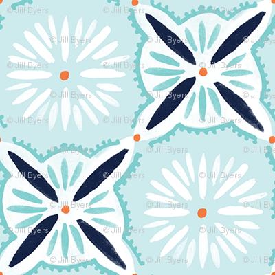 Daisy Tile - blue and Orange