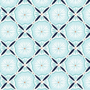 Daisy Tile - blue and Orange