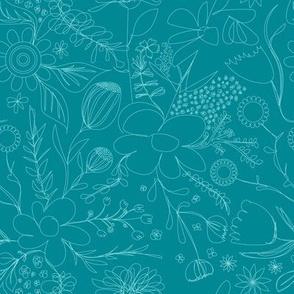 Floral Scribbles - Garden - Teal