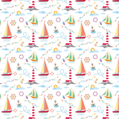 marine pattern with ships, lighthouse, rope, anchor, clouds
