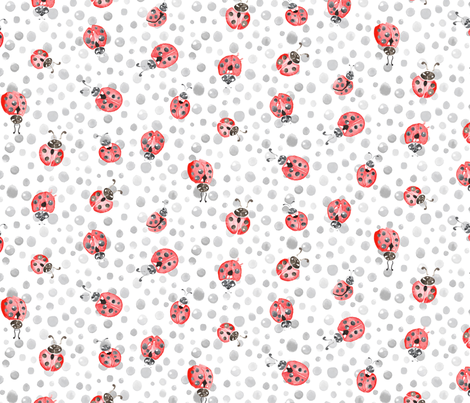 Watercolor Lady Bird ladybug ||  Spots polka dots insect gray grey white black red pink animal _ Miss Chiff Designs fabric by misschiffdesigns on Spoonflower - custom fabric