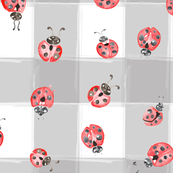 Watercolor Insect Lady Bird Ladybug Bug gray white check_Miss Chiff Designs