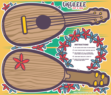 Oily Aloha - Ukulele - Cut & Sew - Yellow fabric by shannanigan on Spoonflower - custom fabric
