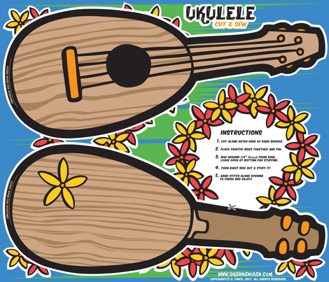Oily Aloha - Ukulele - Cut & Sew - Blue fabric by shannanigan on Spoonflower - custom fabric