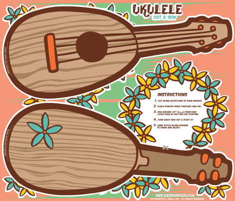 Oily Aloha - Ukulele - Cut & Sew - Coral fabric by shannanigan on Spoonflower - custom fabric