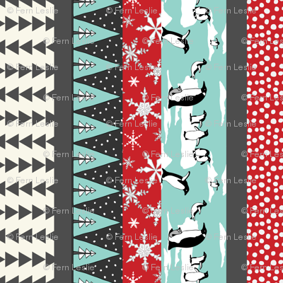 Penguin Stocking- Turquoise,  Red NF