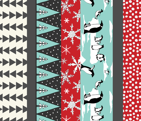 Penguin Stocking- Turquoise,  Red NF fabric by fernlesliestudio on Spoonflower - custom fabric