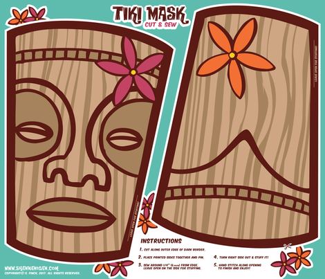 Oily Aloha - Tiki Mask - Cut & Sew - Aqua fabric by shannanigan on Spoonflower - custom fabric