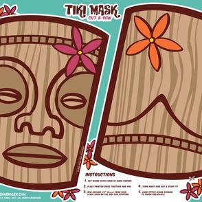 Oily Aloha - Tiki Mask - Cut & Sew - Aqua