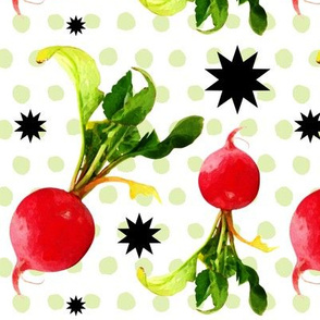 Watercolor Radishes polka dot surprise