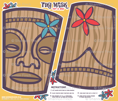 Oily Aloha - Tiki Mask - Cut & Sew - Yellow