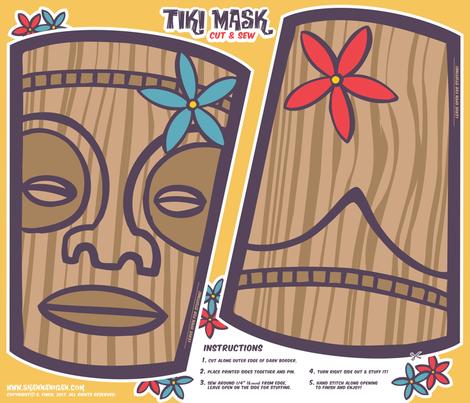 Oily Aloha - Tiki Mask - Cut & Sew - Yellow fabric by shannanigan on Spoonflower - custom fabric