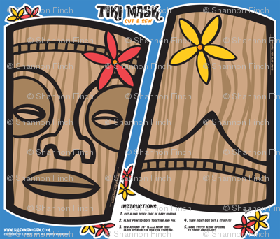 Oily Aloha - Tiki Mask - Cut & Sew - Blue