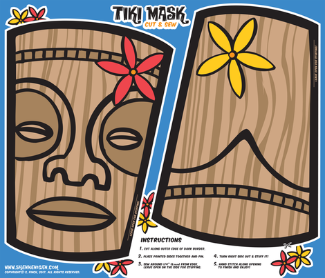 Oily Aloha - Tiki Mask - Cut & Sew - Blue fabric by shannanigan on Spoonflower - custom fabric