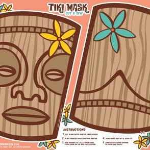 Oily Aloha - Tiki Mask - Cut & Sew - Coral