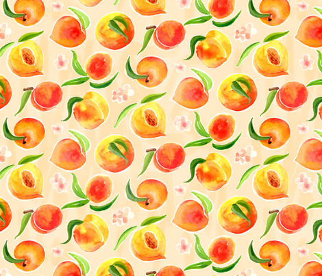 Painted Peaches fabric by chickadeedeedee on Spoonflower - custom fabric