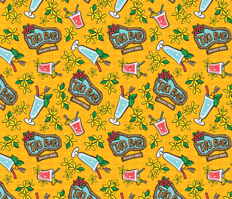 Kitsch Tiki - Swizzle - Yellow fabric by shannanigan on Spoonflower - custom fabric
